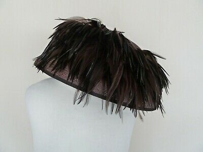 Ladies Brown Woven Feather Embellished Brimmed Hat VGC Wedding Races