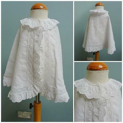 Antique Babys Christening Cape Victorian Embroidered Whitework Baptism c1880
