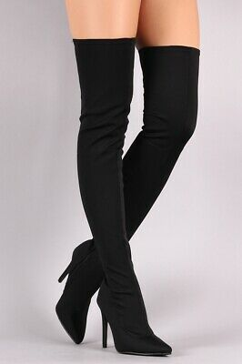 Women Thigh High Boots Pointed Toe Stiletto Heels Sexy Nightlcub Shoes Plus Size