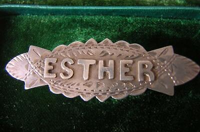 Esther Victorian Silver Name Brooch Pin By David Taylor Chester 1906 Edwardian