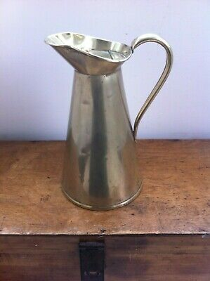 LARGE DECORATIVE ANTIQUE BRASS LIDDED WATER JUG 10.5 inches