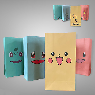 Pokemon Empty Birthday Party Bags - (4 pcs) Fillers, Favours, supplies, Loot