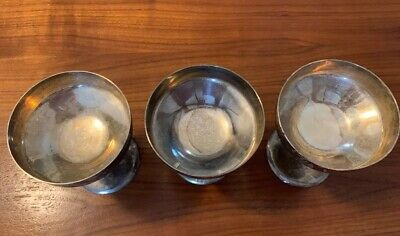 3 Vtg Industria Argentina Silver Plated 4oz Champagne Coupes Stem Glasses Cups