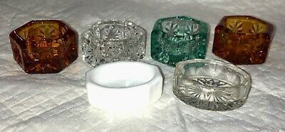 Lot of Antique Vintage Open Salt Cellar Dips Dishes Cut Glass Nice Collection