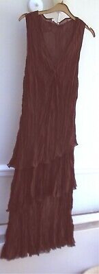 'George' New,Brown,Midi,Polyester,Tiered,Crease Resistant, Dress-Size 20
