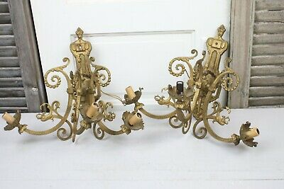 Pair Antique French Wall Sconces Electric 3 Arm  Dragon Head Laurel Swags Gold