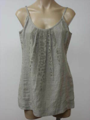 Eileen Fisher EVENING Blue Navy V-NECK TANK HANKY LINEN W//SEQUINS S NWT $188