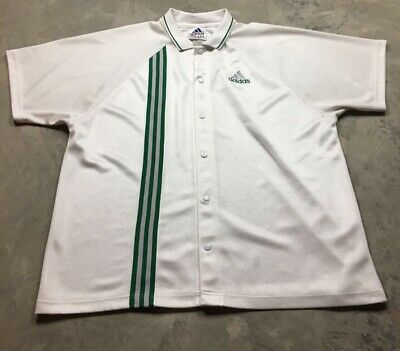billig 90S VTG ADIDAS EQT ORIGINALS Snap Polo Equipment Jersey Shirt XL Warm Up Green  zu verkaufen