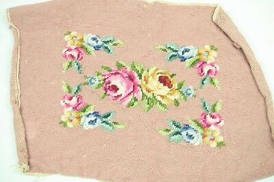 "Needlepoint Chair Cover Blush Beige w Pink Yellow Blue Roses Flowers 15"" by 16"""