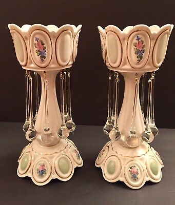 2 I Love Lucy Show Antique Italian Candle Holders Lusters Lustres Prisms