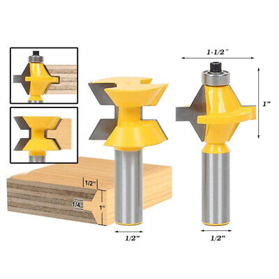 """2x 1/2"""" Shank Tongue&Groove Router Bit Kits 120 Degree Woodworking Chisel Cutter"""