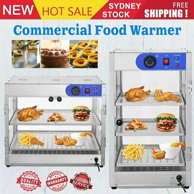 Commercial Food Warmer Stainless Steel Pizza Pie Hot Display Showcase Glass Door