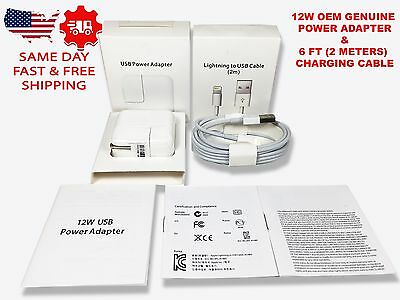 Original OEM Apple 12W USB Power Adapter Wall Charger for iPad 2 3 4 Air iPhone