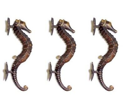 "3 large aged SEAHORSE solid brass door old style 13"" PULL handle bronze patina B"