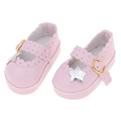 Doll Shoes Strap PU Leather Shoes For 16'' Dolls Clothing Accessories Pink