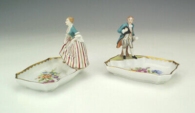 Antique Dresden Porcelain - Pair Of Hand Painted Figurine Dishes - Lovely!