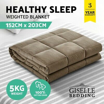 Giselle Bedding Cotton Weighted Blanket Heavy Gravity Deep Relax Sleep Adult 5KG