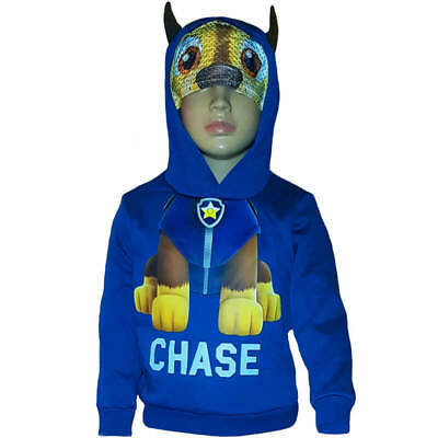 """Paw Patrol Hoddie """"CHASE"""" with mask and ears for boys and girls Dark Blue Hoodie"""