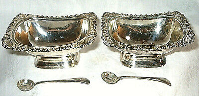 Pair of Silver Plate Georgian Style Boat Open Salts with Spoons