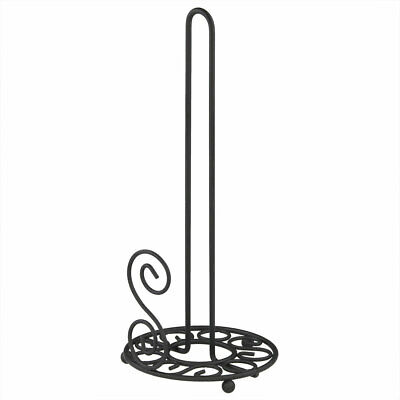 Home Basics Scroll Collection Coated Steel Counter Top Paper Towel Holder, Black