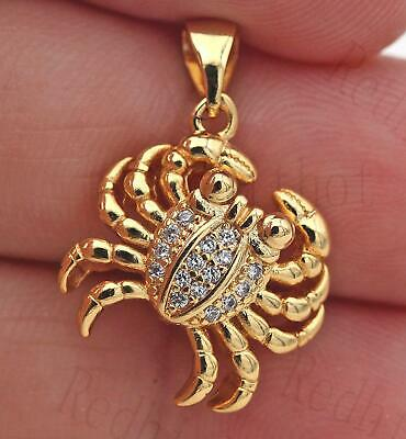 18K Gold Filled Pendant Cute Crab Zircon Big Eyes Topaz 3D Claws Child Gift SW