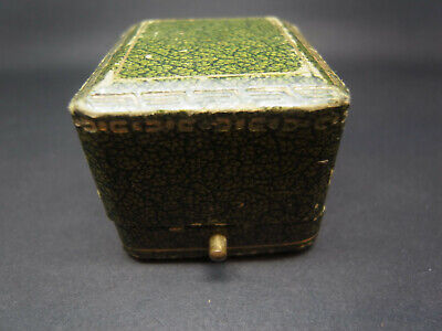 Antique Vintage French Green Outer Cream Velvet Silk Jewellery Ring Box Case