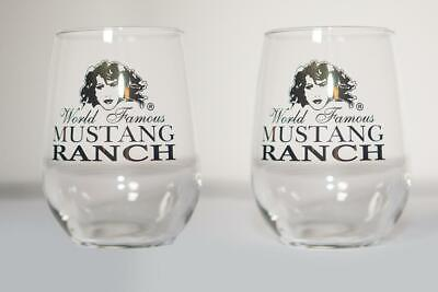 Premium Official Mustang Ranch Stemless Wine Glasses - Gold (set of 2)