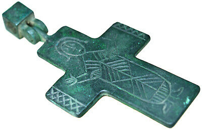 Byzantine Bronze Christian Cross Pendant