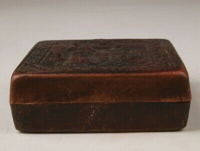 Retro Chinese Red Copper Seal Box Embossed Beauty Crafts Old Collection Gift