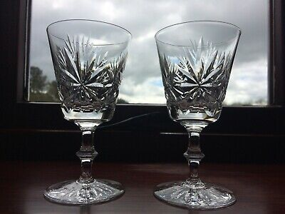2 Vintage Star Of Edinburgh Crystal Wine  Glasses Signed