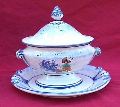 MBFA Pornic French Hand Painted Lidded Sauce Boat with Dish Rooster no Quimper