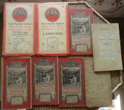 Lot of 8 vintage maps Ordnance Survey G.B. England inc 2 early 1909 + 1912 cloth