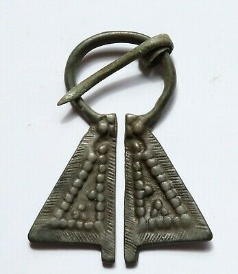 Authentic Medieval Bronze Penannular Omega Brooch- (2)