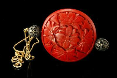 Old Chinese Carved Red Cinnabar Sterling Filigree Pendant Necklace A804