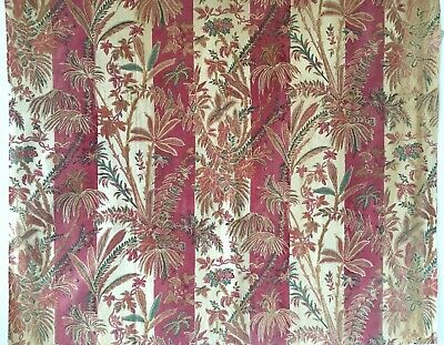 Beautiful 19th C. French Printed Exotic Leafy Stripe Cotton Fabric  (2760)