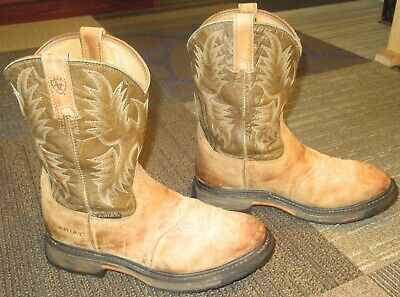 e6b3d327aa7 MENS ARIAT WORKHOG Pull On Tan Leather Work Boots sz 11 D