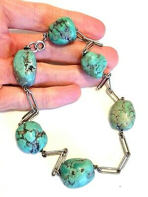 Rare Antique Victorian Silver & Large Turquoise Bead Choker Necklace: Chinese