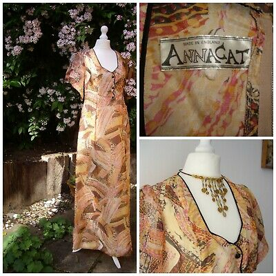 ANNACAT RARE vintage 60's maxi dress psychedelic gauzy collectable 70s Small
