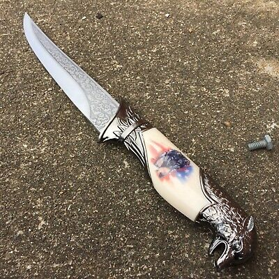 """13"""" Wolf Dagger Fixed Blade Hunting Knife With Scabbard NEW 4851-W3 M"""