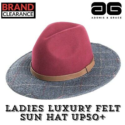 Ladies Fedora Wool Tweed Mix Hat Fashion Style Quality Racing Trilby A/&G