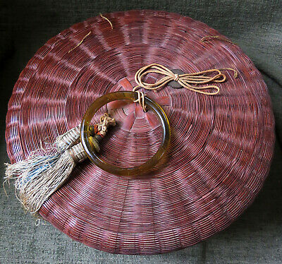 VINTAGE CHINESE SEWING BASKET WOVEN ROUND GLASS BANGLE, COIN 1920's