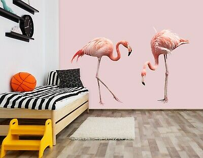 3D Pink Flamingo B50 Animal Wallpaper Mural Poster Wall Stickers Decal Wendy
