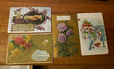 SET OF4 ANTIQUE POST CARD EARLY 20th CENTURY GERMANY TEXTURED & EMBOSSED J-67