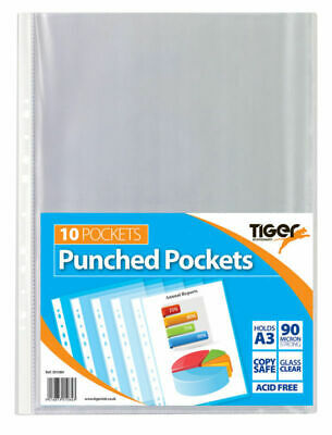 10 Strong A3 Clear Poly Pockets Punched Wallet Portrait Display Sleeves Tiger