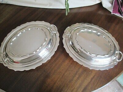 A Pair Of Vintage James Dixon Oval Epns Silver Plated Tureen Entree Dish &  Lids