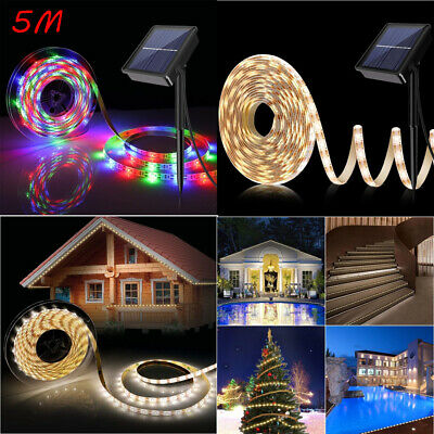 5m Solar LED Soft Strip Light String IP67 Waterproof Outdoor Party Wedding Light