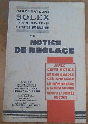 Carburateurs Solex – Notice de Réglage n°9
