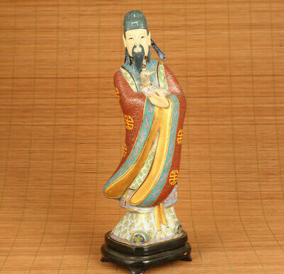 Antique Asian Old Cloisonne hand painting ancient people Statue table decoration