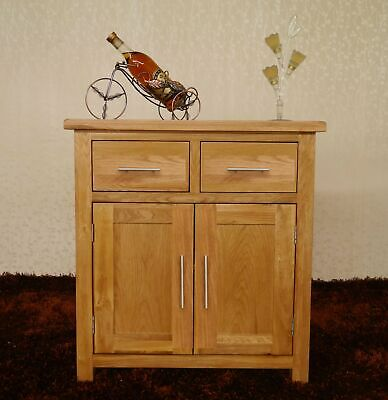 Solid Oak Sideboard Small Storage Cupboard 2 Drawer 2 Door Sideboard Kitchen