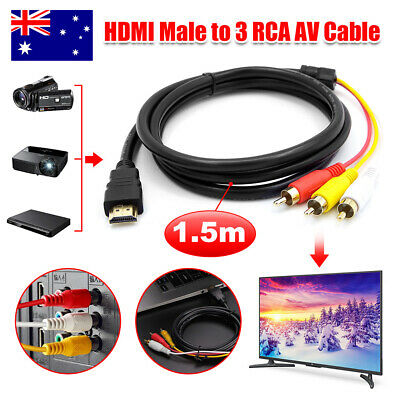 HDMI to RCA RGB Male AV 3 RCA Video Converter Cable for HDTV DVD Player 1.5M
